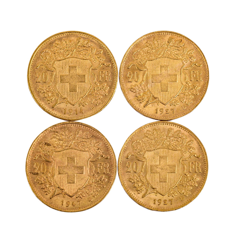 Schweiz - 4 x 20 Franken, Motiv Vreneli, - Image 2 of 2