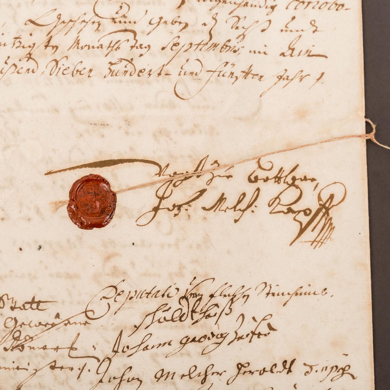 """Württemberg - Urkunde Ende 17./Anfang 18. Jh. """"Vergleichs Recess"""", - Image 2 of 3"""