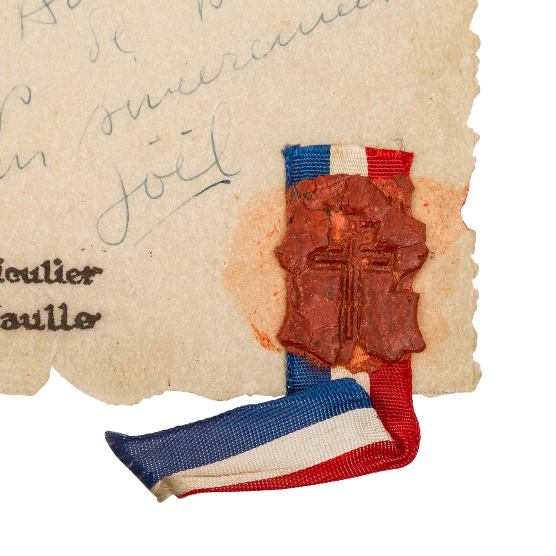 Selten erhaltenes Schriftstück Frankreich 1943 unter General de Gaulle - - Image 3 of 4