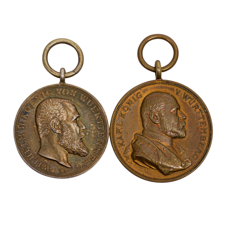 Württemberg Kg. Karl tragbare Medalle 1889, 25 jähriges Regierungsjubiläum,