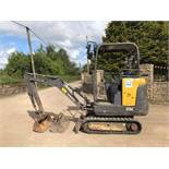2015 VOLVO EC15C TRACKED CRAWLER MINI EXCAVATOR / DIGGER, 1710 HOURS, 3 X BUCKETS, RUNS,DRIVES, DIGS