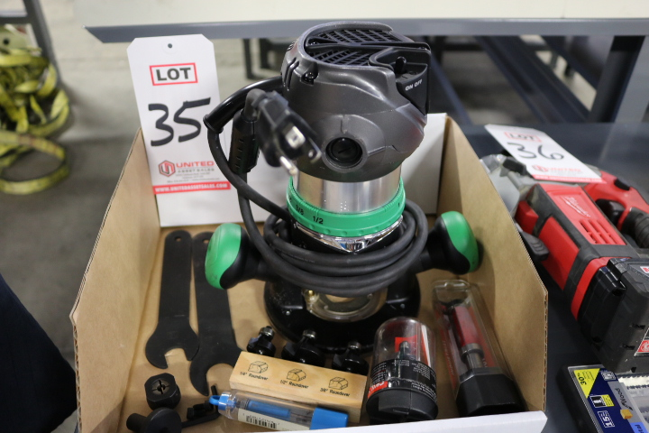 """Lot 35 - LOT - HITACHI 1/2"""" ROUTER, MODEL M12VC, W/ ASSORTED ROUNDOVER, CHAMFER AND FLUSH TRIMMING BITS"""