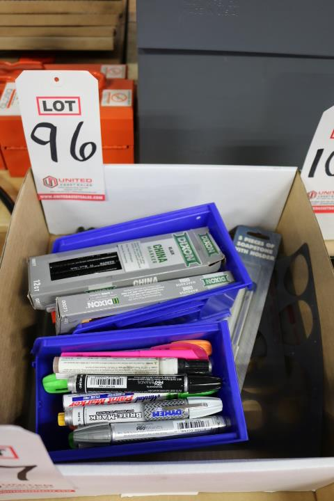 Lot 96 - LOT - CHINA MARKERS, SHARPIES, PICKETT INKING TEMPLATES, ETC.