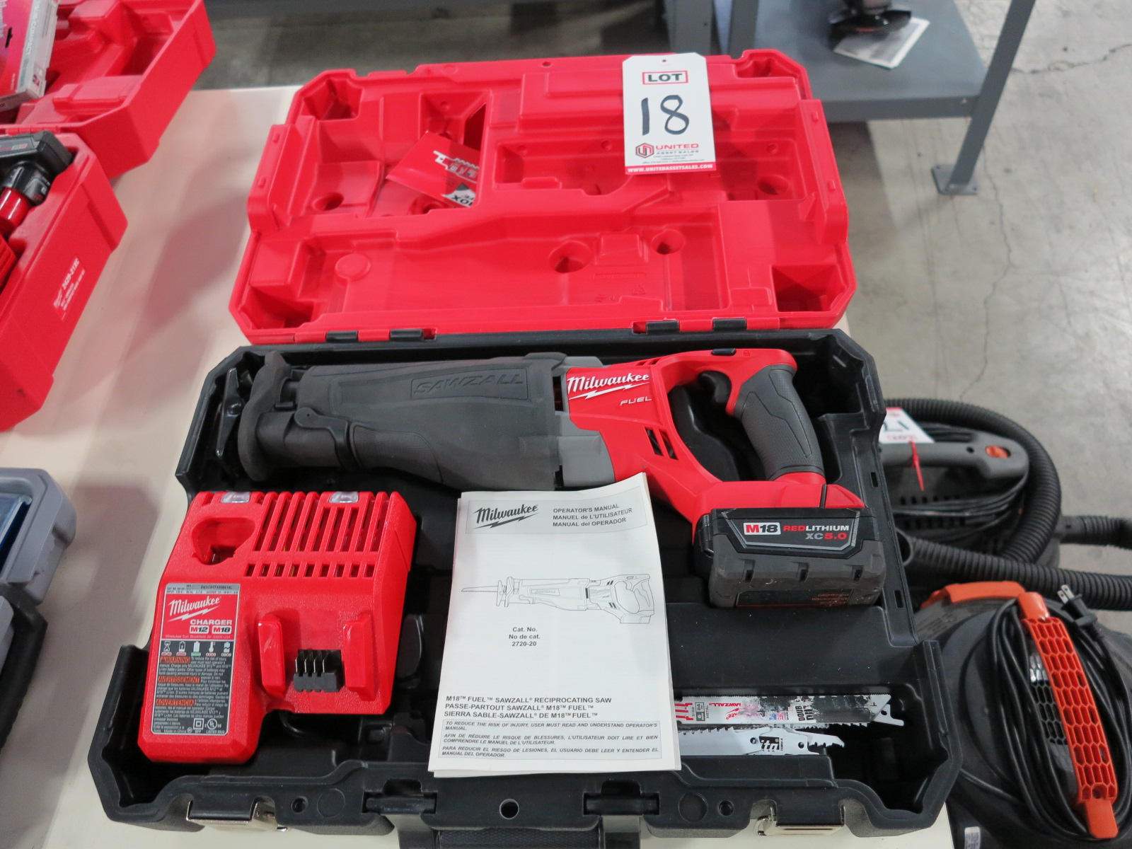 Lot 18 - MILWAUKEE M18 FUEL SAWZALL, W/ BATTERY, CHARGER, CASE, CAT. NO. 2720-20, 18V