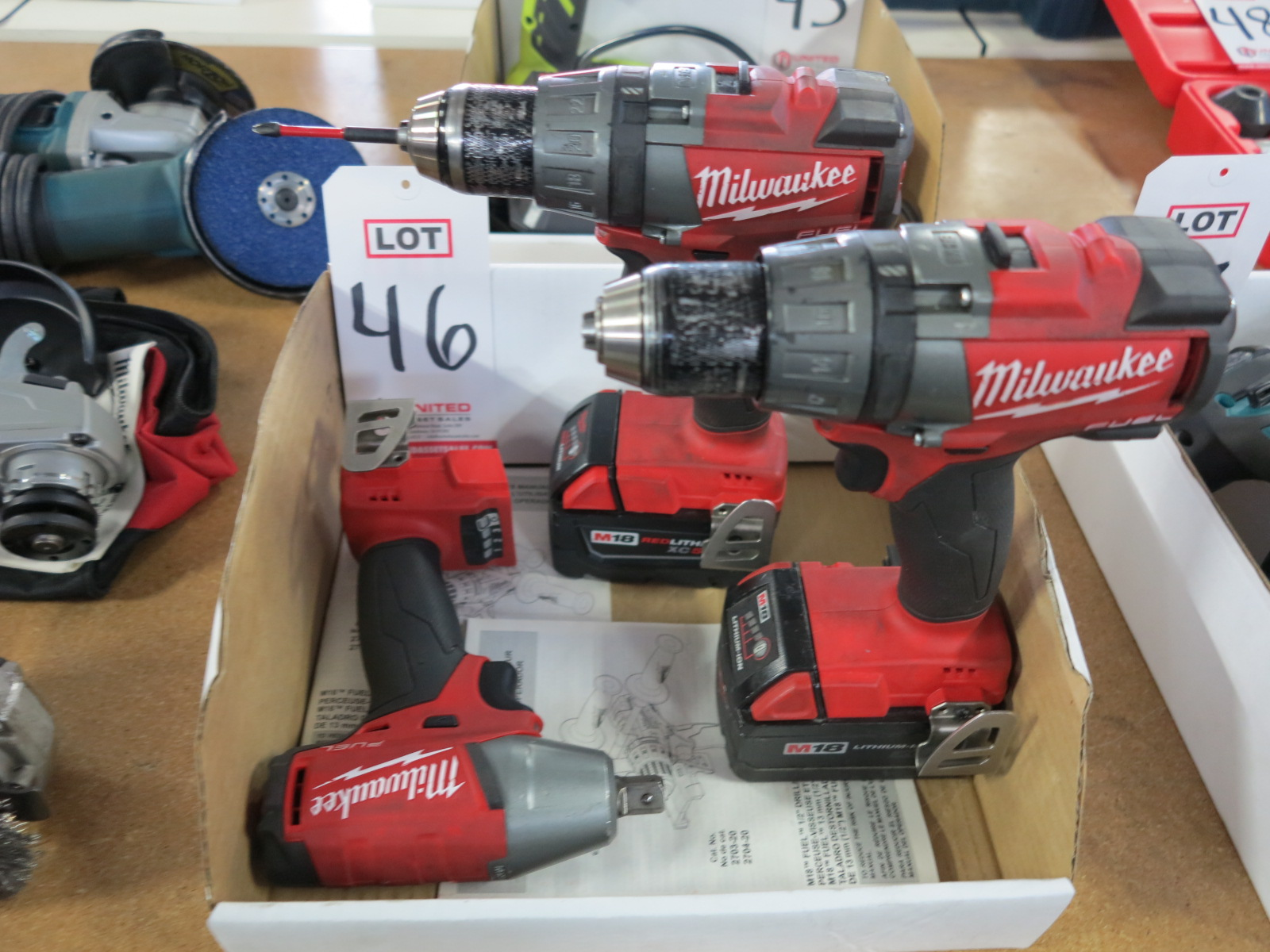 """Lot 46 - LOT- (2) MILWAUKEE 1/2"""" DRILLS, CAT. NO. 2703-20, BOTH W/ M18 EXTENDED BATTERIES AND (1) MILWAUKEE"""