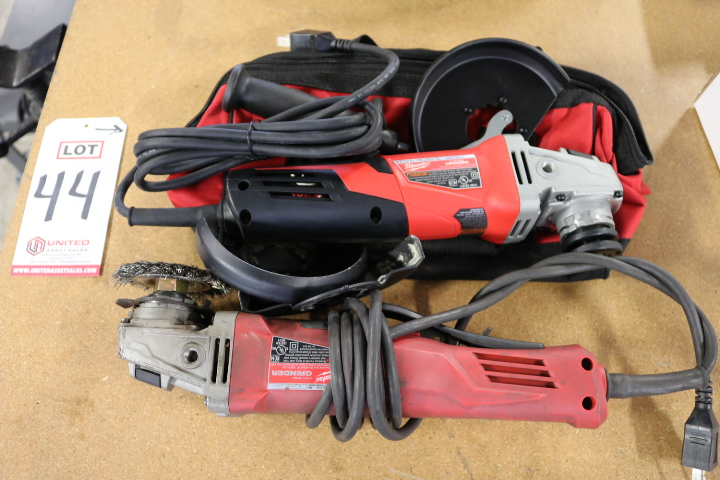 """Lot 44 - LOT - (1) MILWAUKEE 5"""" ANGLE GRINDER, CAT. NO. 6117-33D AND (1) MILWAUKEE 4-1/2"""" ANGLE GRINDER, CAT."""