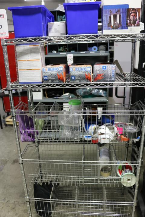 """Lot 6 - LOT - ULINE WIRE SHELF UNIT, 3' X 18"""" X 5', W/ CONTENTS OF PERSONAL PROTECTIVE EQUIPMENT: MASKS,"""