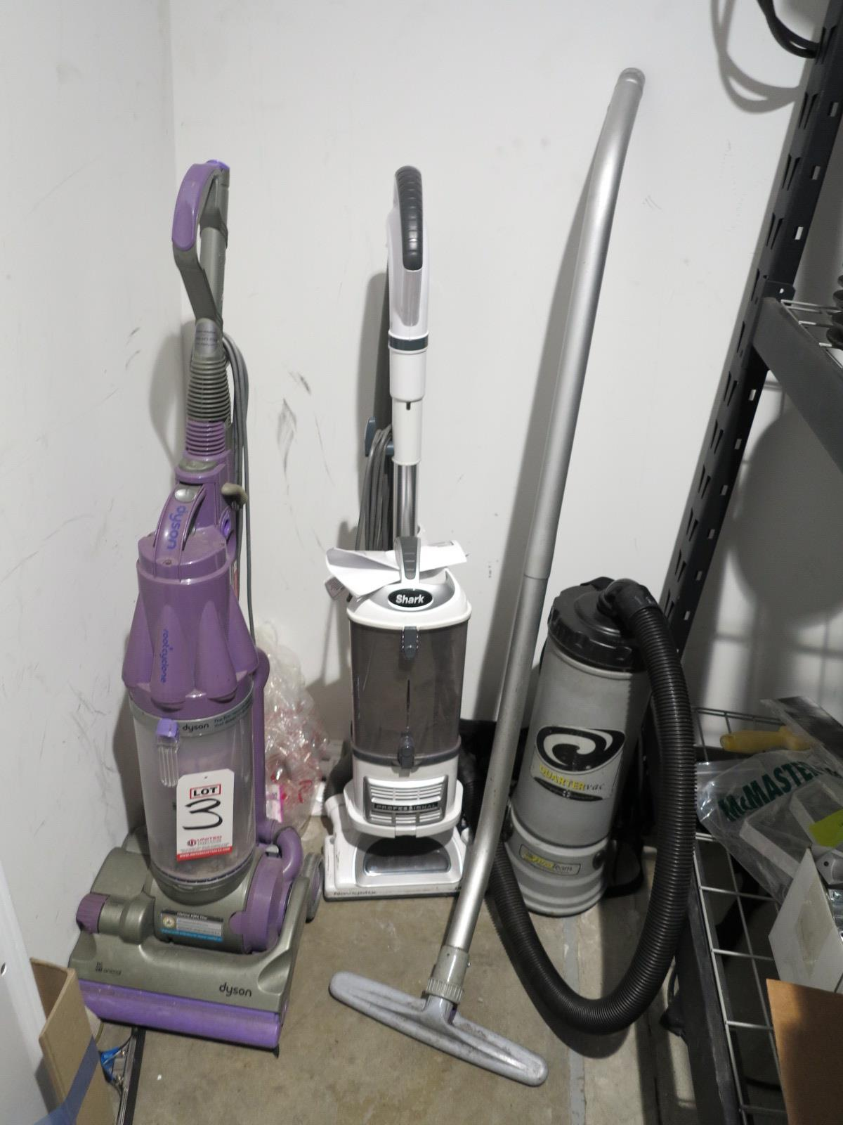 Lot 3 - LOT - (3) VACUUM CLEANERS: PROTEAM QUARTER VAC BACKPACK VAC; DYSON ROOT CYCLONE; SHARK NV355