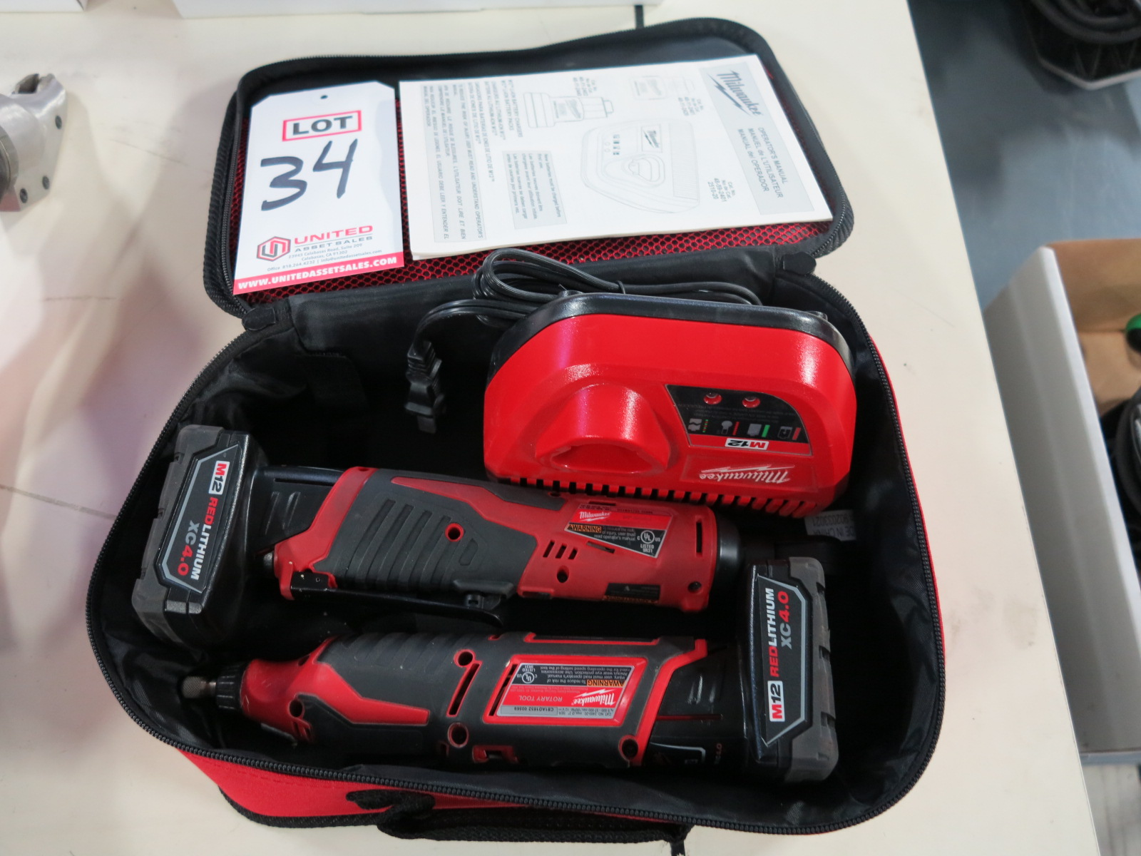 """Lot 34 - LOT - MILWAUKEE M12 ROTARY TOOL AND 3/8"""" RATCHET, BOTH W/ M12 XC 4.0 BATTERIES"""