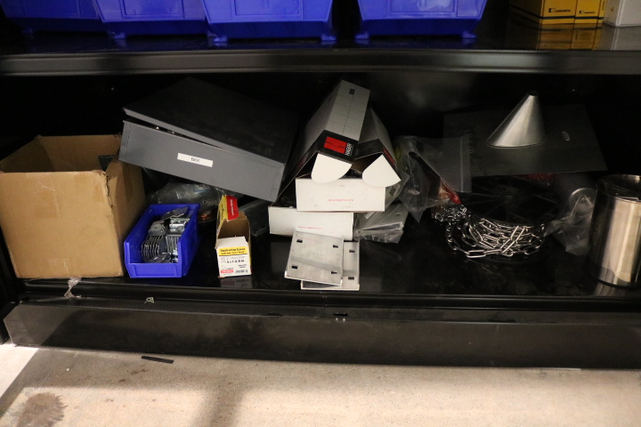 """Lot 1 - LOT - 2-DOOR ULINE STORAGE CABINET, 4' X 2' X 78"""", W/ CONTENTS TO INCLUDE: MISC HARDWARE, FASTENERS,"""