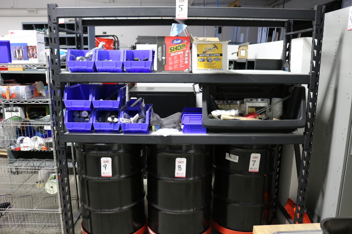 Lot 5 - LOT - 6' SHELF UNIT, W/ CONTENTS TO INCLUDE: PAINTING SUPPLIES, CAULK, ANCHORING EPOXY, CHAIN AND