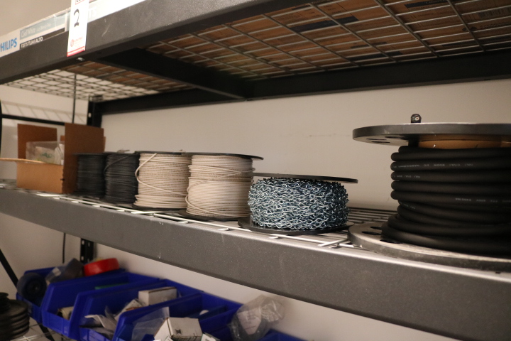 Lot 2 - LOT - 6' SHELF UNIT, W/ CONTENTS TO INCLUDE: ASSORTED WIRE SPOOLS, CASTERS, HARDWARE, FASTENERS,