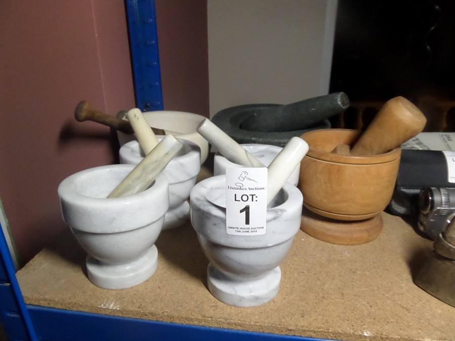 Lot 1 - 7X ASSORTED MORTARS & PESTLES