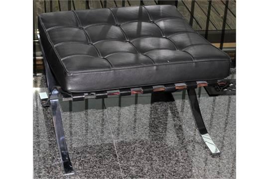 Alivar Furniture Barcelona Style Leather Ottoman H 15 W 22 L 23 Upholstered In Black Leat