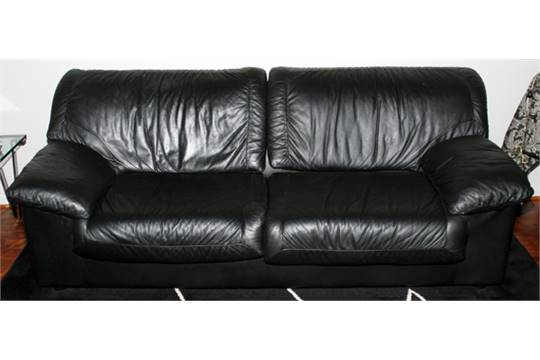 Natuzzi Italian Black Leather Sofa Modern H 32 Quot L 84 D