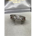 18ct GOLD 3 STONE DIAMOND TRILOGY RING + 9ct GOLD DIAMOND SET BAND