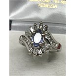 14ct WHITE GOLD TANZANITE & DIAMOND RING