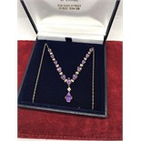 BEAUTIFUL 9ct GOLD AMETHYST & DIAMOND NECKLACE