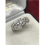 FINE 18ct WHITE GOLD 1.50ct TRIPLE DIAMOND CLUSTER RING