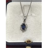 18ct WHITE GOLD BLUE SAPPHIRE & DIAMOND PENDANT & CHAIN