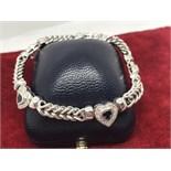 FINE QUALITY 18ct WHITE GOLD HEART BLUE SAPPHIRE & DIAMOND BRACELET APPROX 35 GRAMS