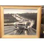 Old framed oil painting of a car