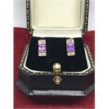 STUNNING 9ct GOLD AMETHYST & DIAMOND EARRINGS