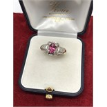 PINK SAPPHIRE & DIAMOND RING SET IN 9ct GOLD