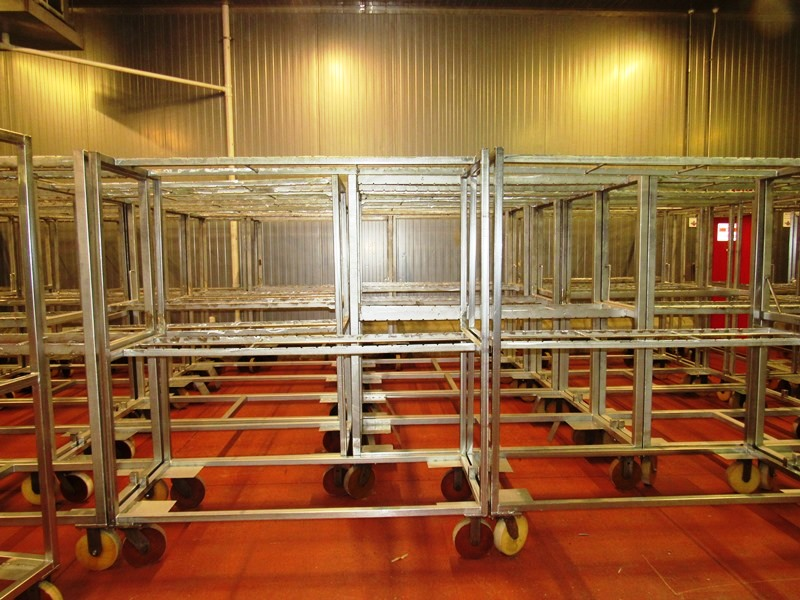 "Lot 22 - Stainless Steel Belly Racks, 30"" W X 72"" L X 80"" T on 8"" casters, holds 60 bellies ($100.00 Required"