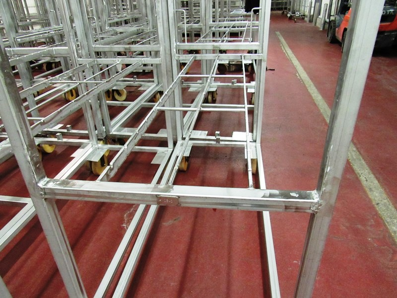 """Lot 23 - Stainless Steel Belly Racks, 30"""" W X 72"""" L X 80"""" T on 8"""" casters, holds 60 bellies ($100.00 Required"""
