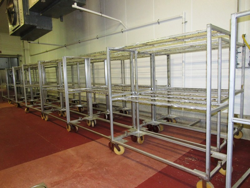 "Lot 27 - Stainless Steel Belly Racks, 30"" W X 72"" L X 80"" T on 8"" casters, holds 60 bellies ($100.00 Required"