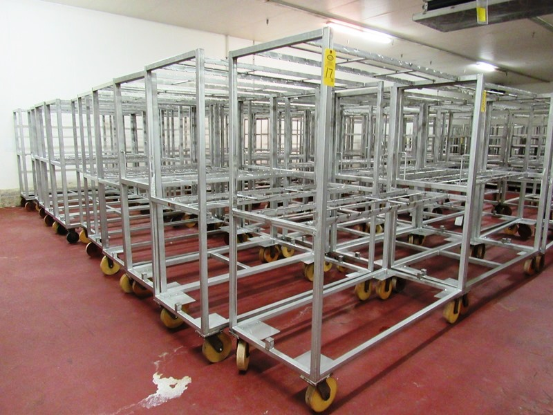 """Lot 45 - Stainless Steel Belly Racks, 30"""" W X 72"""" L X 80"""" T on 8"""" casters, holds 60 bellies ($100.00 Required"""