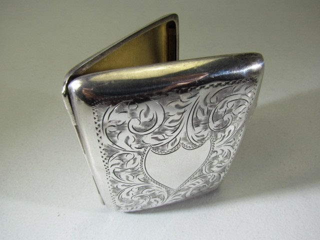 Lot 7 - Hallmarked silver cigarette case Birmingham 1923