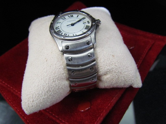 Lot 28 - Ladies steel cased Cartier Santos wristwatch