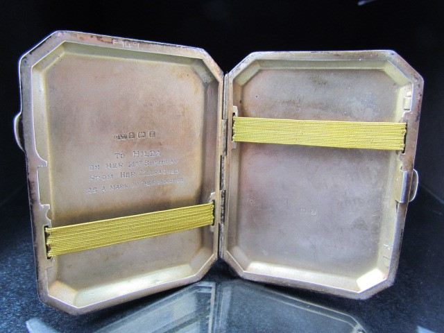 Lot 9 - Joseph Gloster Ltd - Hallmarked silver cigarette case. Central panel to front depicting a hunting