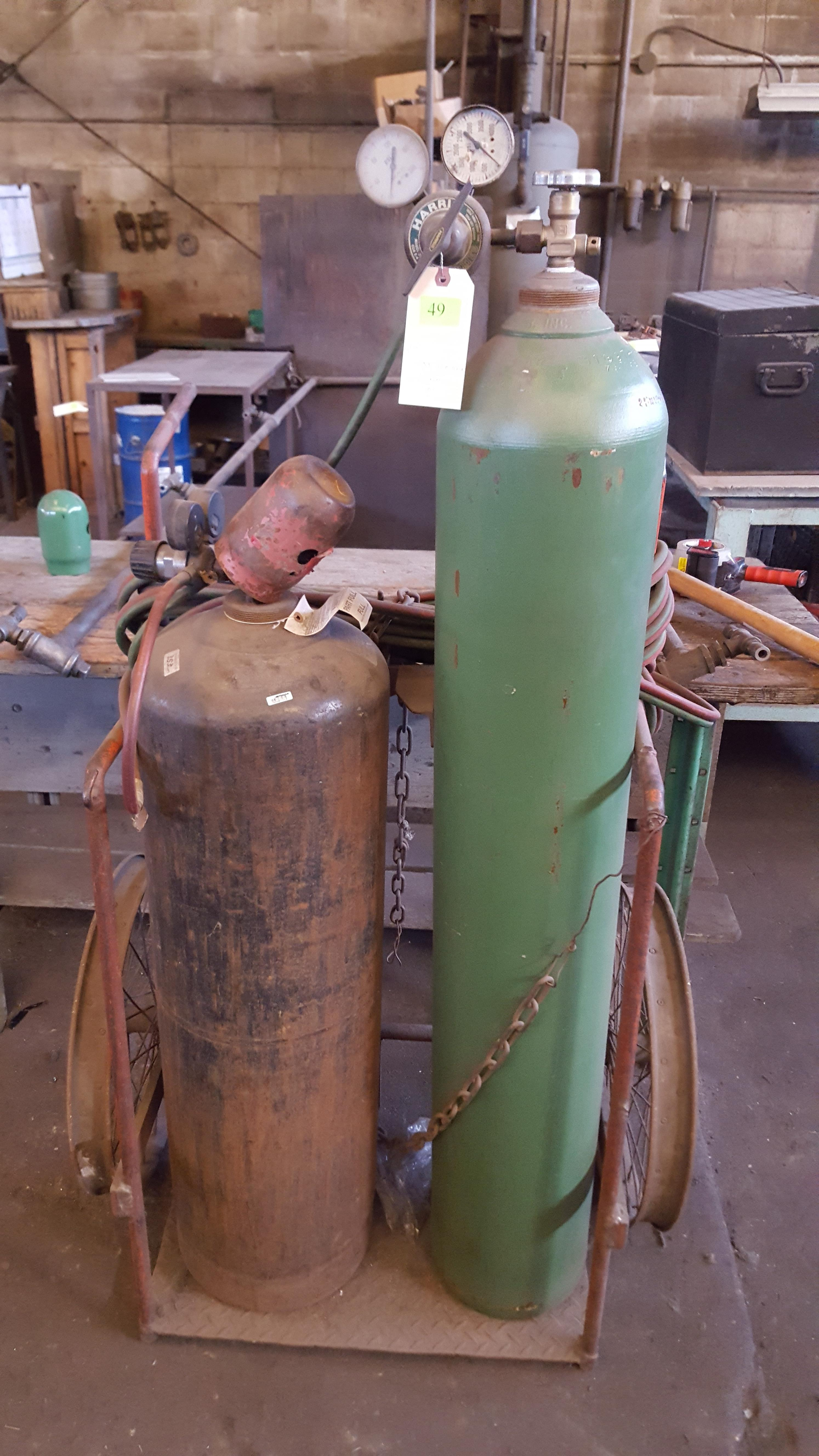 Lot 49 - OXY. ACETYLENE TORCH SET AND CART