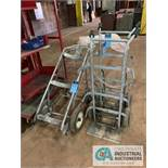 (LOT) (1) DRUM TWO WHEEL HAND TRUCK & (2) OXY ACETYLENE TANK CARTS ***LOCATED IN MILFORD, OHIO***