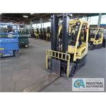 """6,000 LB HYSTER MODEL S60FT LP GAS SOLID TIRE LIFT TRUCK WITH 3-STAGE MAST, 188"""" LIFT HEIGHT, 84"""""""