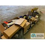 (LOT) (3) SKIDS OF MISC. OFFICE EQUIPMENT, FITTINGS, GEAR DRIVE & GRINDING WHEELS ***LOCATED IN