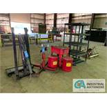 (LOT) ENGINE HOIST, TRANS STAND, CREEPER, PARTS WASHER, (2) OILY RAG CANS, PLASTIC SHELVING, (3)