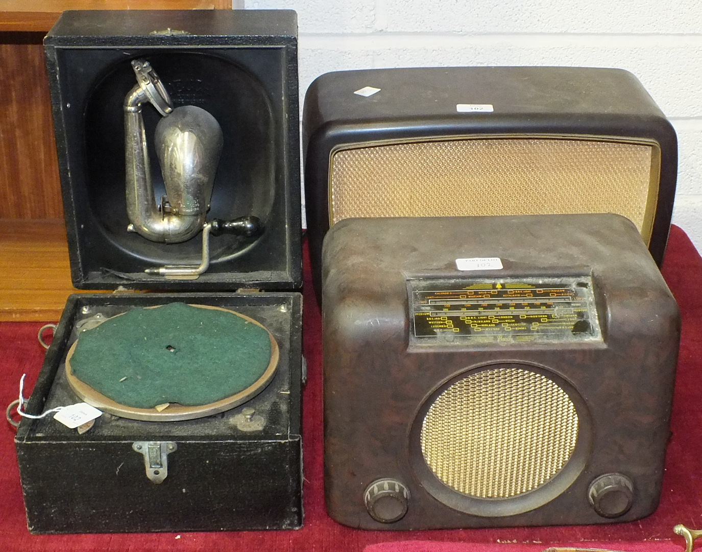 Lot 102 - A Decca Junior portable gramophone, a Philips type 341A radio and a Bush type DAC 90A radio, (3).