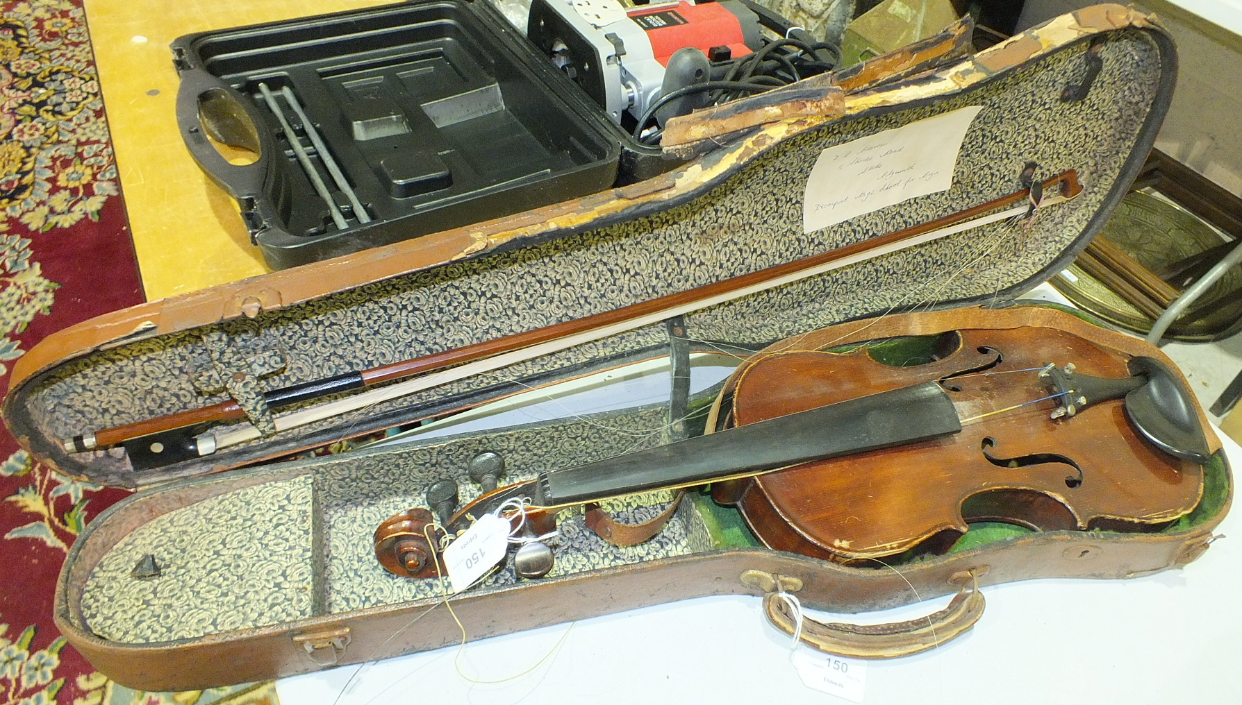 Lot 150 - A violin labelled for John G Murdoch, in case with bow.