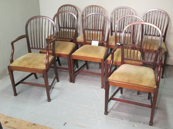 Lot 719 - A set of nine 19th century dining chairs upholstered in cream material with reed back spindles est: