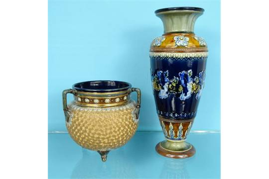 Doulton Lambeth Stoneware Vase Decorated With Flowers And A Royal