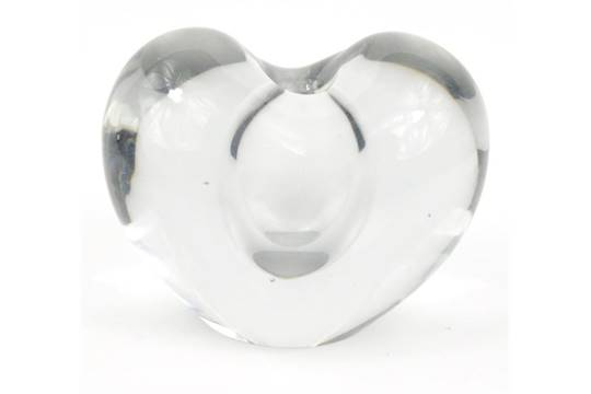 Signed Timo Sarpaneva Clear Glass Heart Shaped Vase Dated 56 10cm