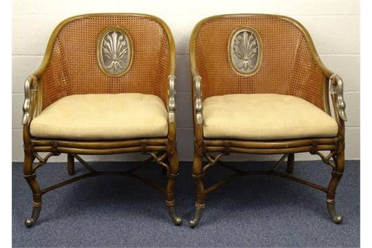 Pair of double bergère cane tub chairs with metal swan head arm ...