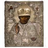 Ikone des Hl. Nikolaus mit Oklad, Russland