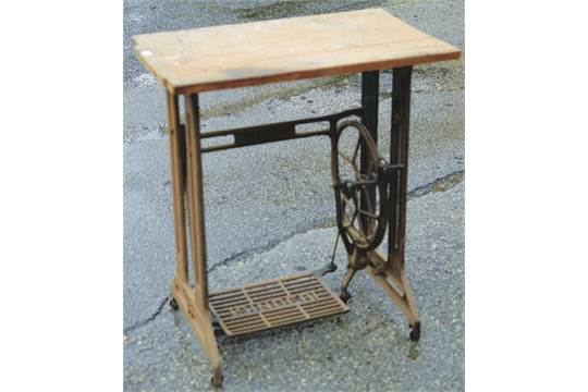 SINGER SEWING MACHINE TABLE  29ins tall, wooden top cast