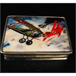 A Silver Pill Box with enamel image of WWI Bi Planes Fighting