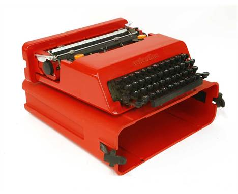 An Olivetti Valentine typewriter, designed by Ettore Sottsass, in 1969, 34cm wide 35cm deep